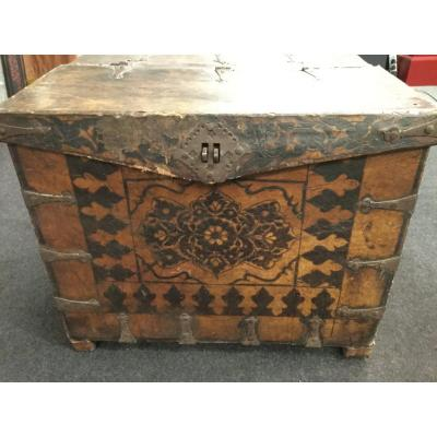 Horse-drawn Carriage Chest, Turkish Military, Wood Covered With Painted Leather, 17th Century