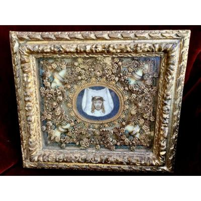 Frame- Reliquary (the Shroud Of Saint Veronique), In Paperolles France Early 18th Century