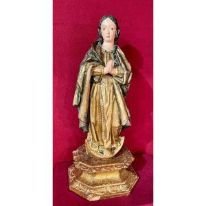 La Vierge Marie ( Immaculata) En Bois Sculpté , Peints Et Doré,Éspagne XVIIe Siècle