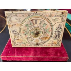 """Boîte à Jeu ( Quadrille) Signée """"mariaval Le Jeune à Paris"""", XVIIIe Siècle"""