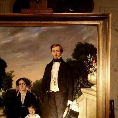 """"""" Portrait De Famille """", Hst Signée Eugène Maurin 1864."""