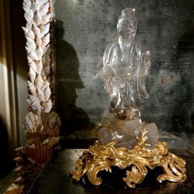 Rare Sujet En Cristal De Roche, Jade Et Bronze. XIXÈme Siècle.