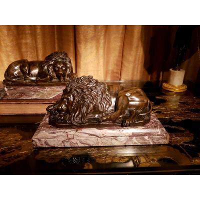 """Paire De Groupe """"aux Lions"""" en Bronze sur Leur Terrasse. Vers 1800."""