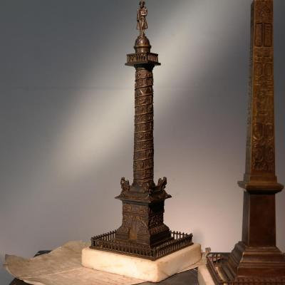 l'Obélisque De Louxor Et La Colonne Vendôme. Bronze, Vers 1830.