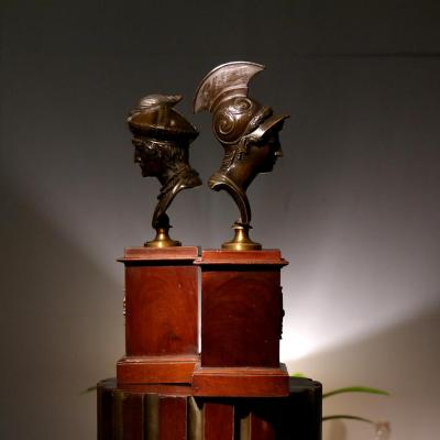 Paire De Bustes, Bronze. Époque Empire.