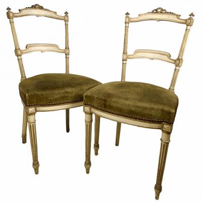 Paire De Chaises Napoléon III Style Louis XVI