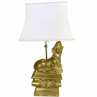 Lampe Chenet Sphinge Bronze Doré époque Régence