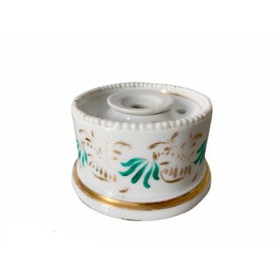 Encrier En Porcelaine Polychrome XIXème Siècle