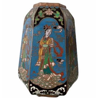Hexagonal Vase In Cloisonne Enamels China