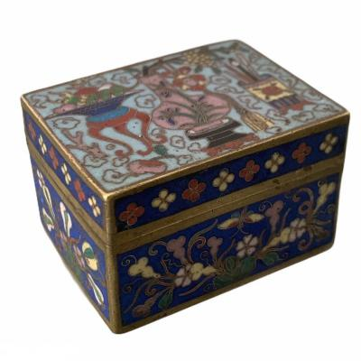 Cloisonne Enamel Copper Box With Taoist Decoration Of Vases And Pot