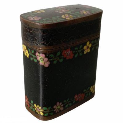 Boite Rectangulaire En Cuivre à émaux Cloisonnés noirs à Décor De Fleurs