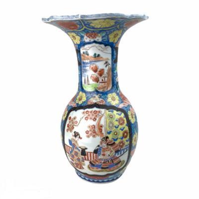 Imari Vermiculate Vase Flared Neck Polychrome Baluster