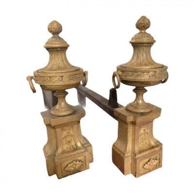 Paire De Chenets Formant Pot à Feu Et Grenade Style Louis XVI Bouhon