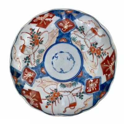 Porcelain Plate Imari Japan Decorated With Landscape, Flowers, Hare And Cornucopia.