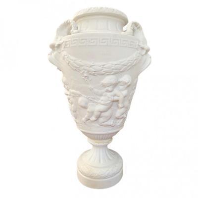 Vase Balustre En Biscuit De Porcelaine d'Après Clodion