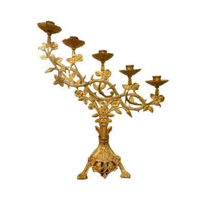 Candélabre d'Autel, Chandelier d'Eglise à 5 Feux En Bronze Doré