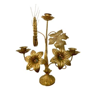 Chandelier Candélabre d'Eglise En Laiton à Décor Floral