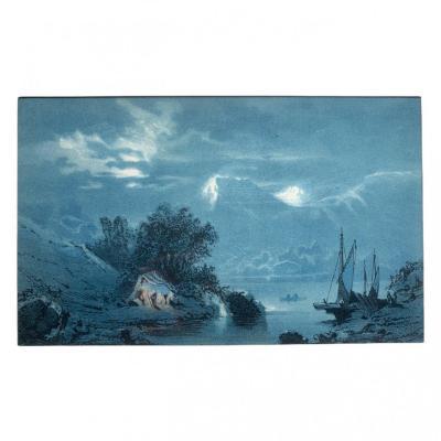 Lithographie Marine Encadrée XIXème Siècle