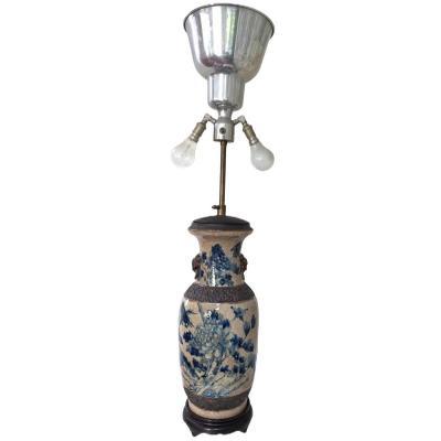 Lampe Vase Balustre Porcelaine De Nankin à Décor d'Oiseaux Et De Feuillage