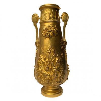Corrieaux Gilt Bronze Baluster Vase