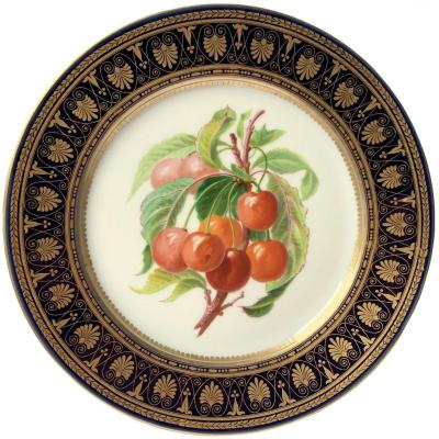 Plate With Polychrome And Gold Decoration Decorated With Cherry Fruits In The Style Of Sèvres