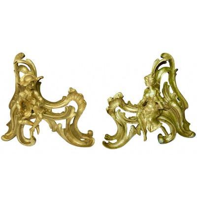 Paire De Chenets Style Louis XV Représentant Un Couple Sur De La Rocaille