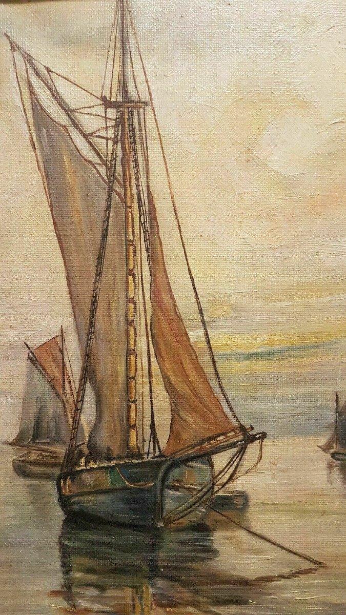 Marine - Huile Sur Toile Début XX° Signée Jean Mertens (1874-1947) - Ecole Belge.-photo-2