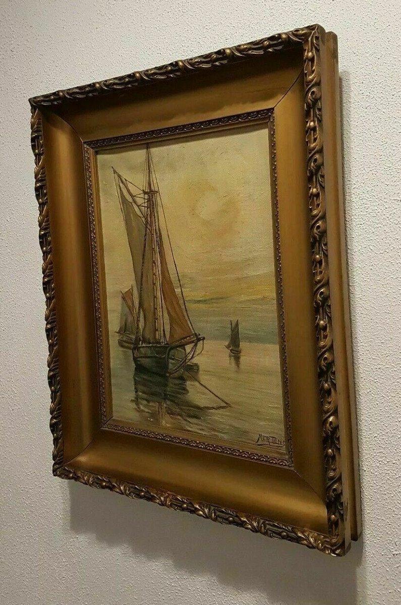 Marine - Huile Sur Toile Début XX° Signée Jean Mertens (1874-1947) - Ecole Belge.-photo-1