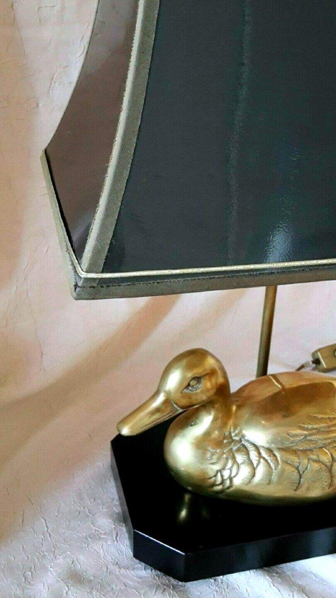 Lampe avec canard en laiton  sur socle bois laqué - Style Maison Charles - Années 70-photo-3