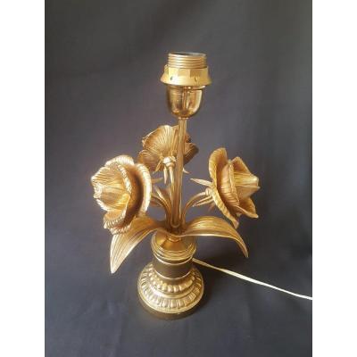 Pied de lampe  Laiton à décor de roses  - 1960