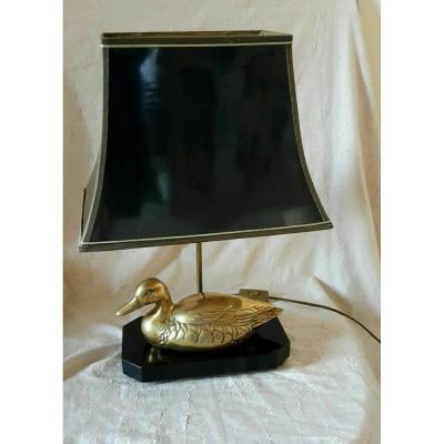 Lampe avec canard en laiton  sur socle bois laqué - Style Maison Charles - Années 70