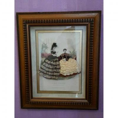 Large 19th Century Dress Fashion Engraving In Beautiful Frame