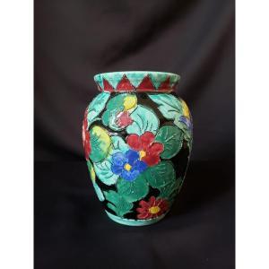Vase en céramique de Vallauris à décor floral cloisonné sur fond noir 1950/1960