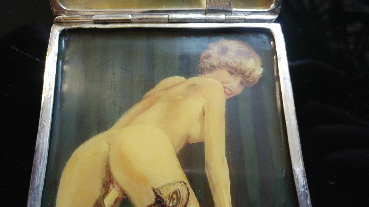Erotic Tobacco Box In Sterling Silver-photo-4