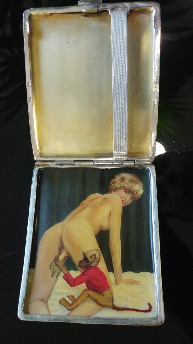 Erotic Tobacco Box In Sterling Silver-photo-5