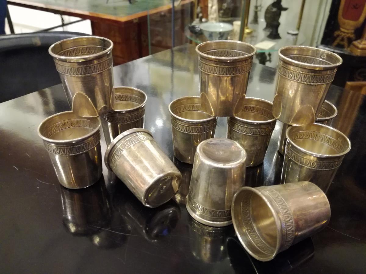 Series Of 12 Timbales Sterling Silver, XIXth Century