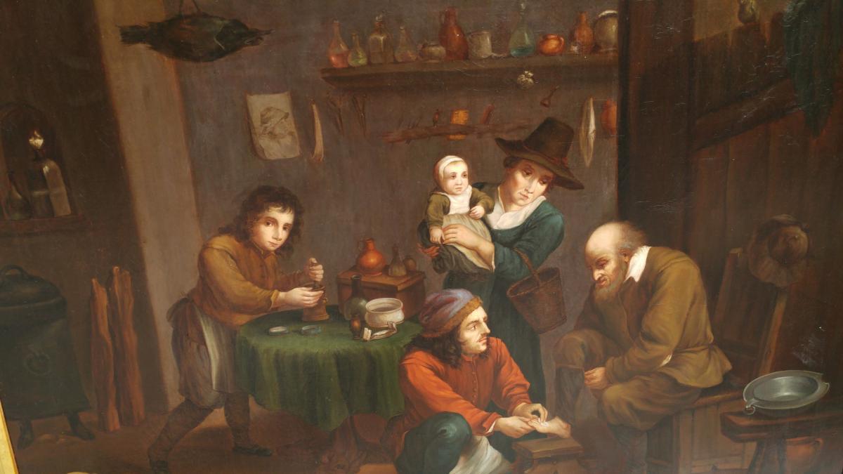 Peinture à Huile Sur Toile De Thématique Médicale XVIII Eme