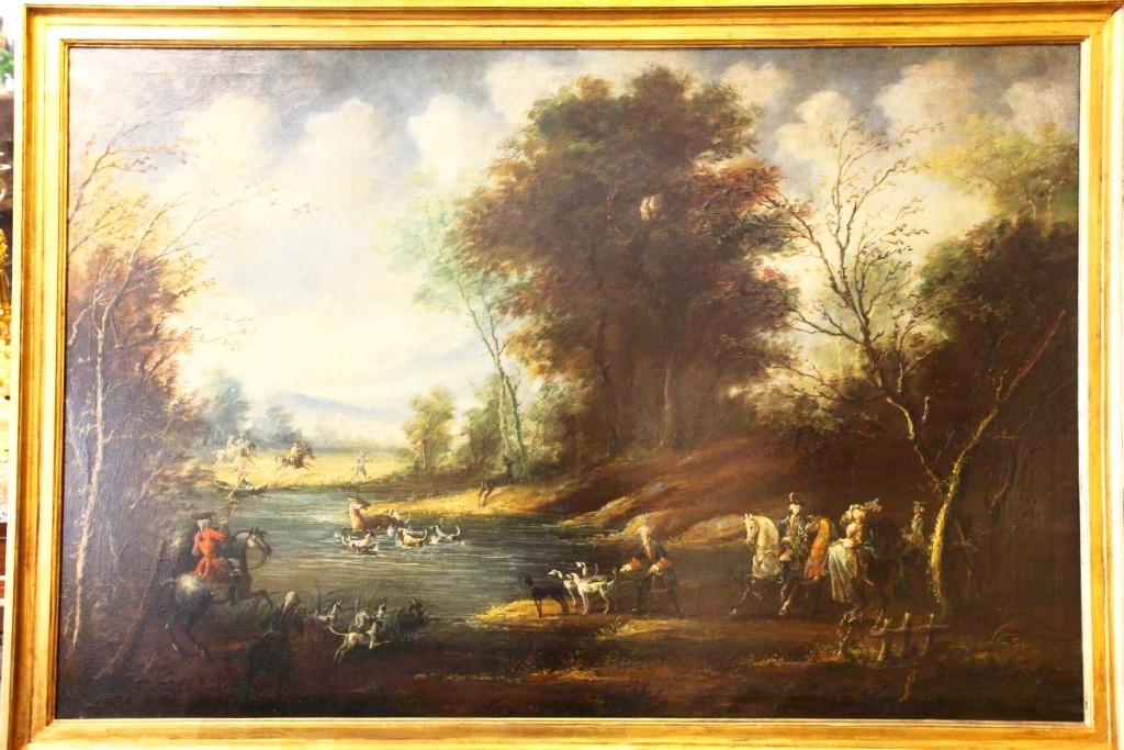 Great Genre Scene Hunting Venerie Wild Boar English School XIXth Century