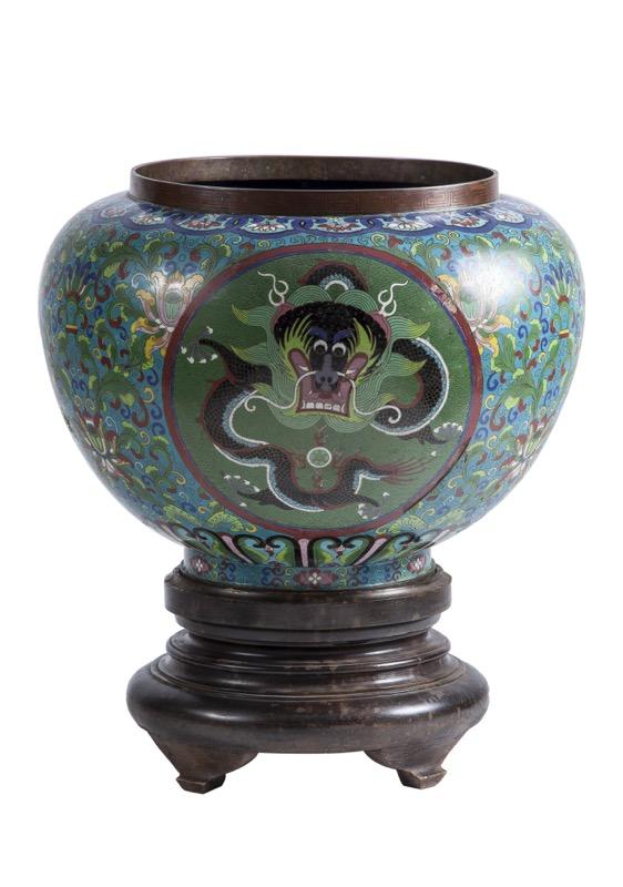 Large Enamel Cloisonne Cashe-pot, Planter XIX.