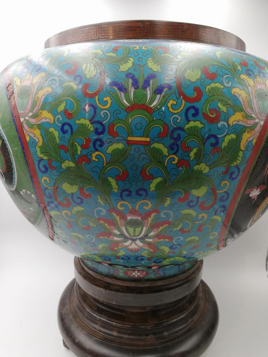 Large Enamel Cloisonne Cashe-pot, Planter XIX.-photo-4