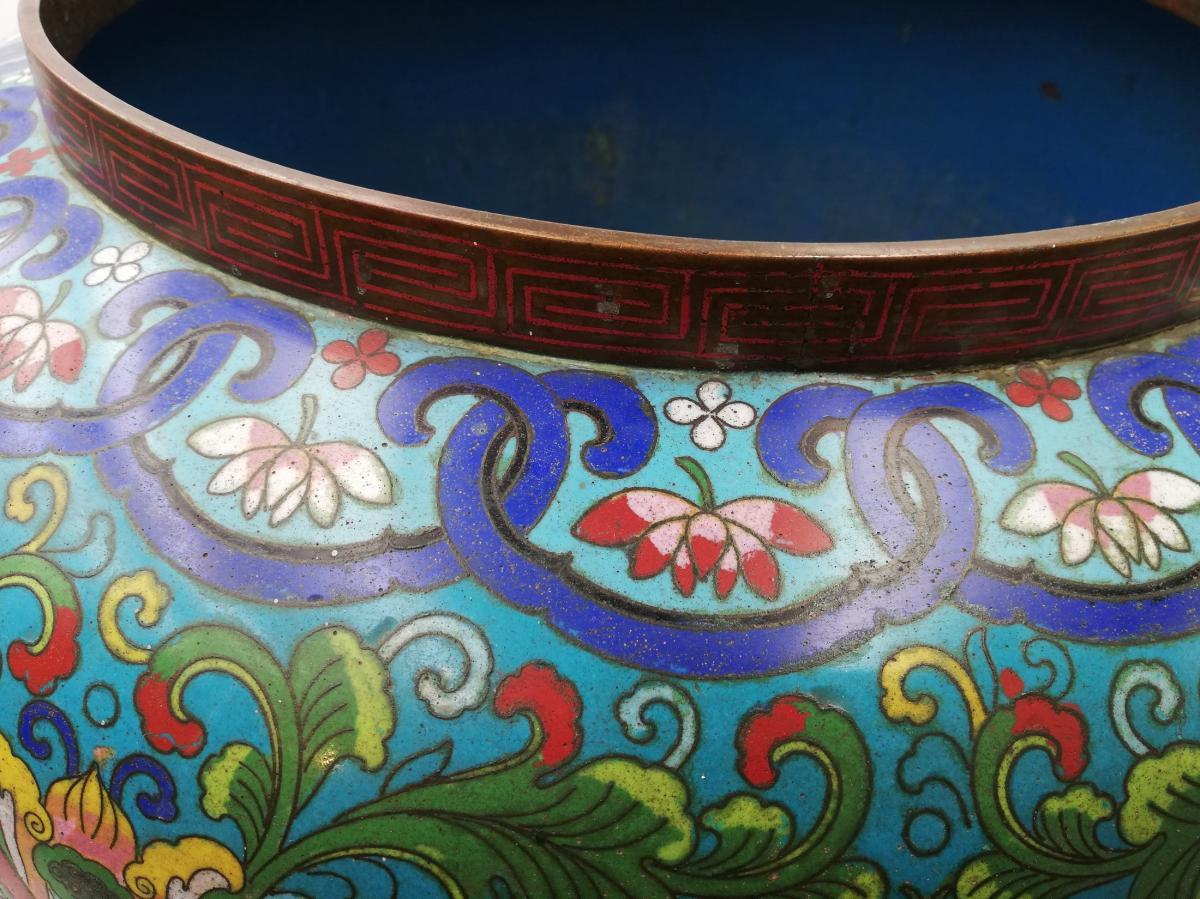 Large Enamel Cloisonne Cashe-pot, Planter XIX.-photo-5
