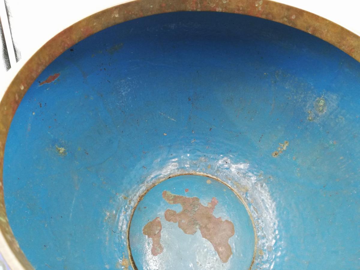 Large Enamel Cloisonne Cashe-pot, Planter XIX.-photo-6