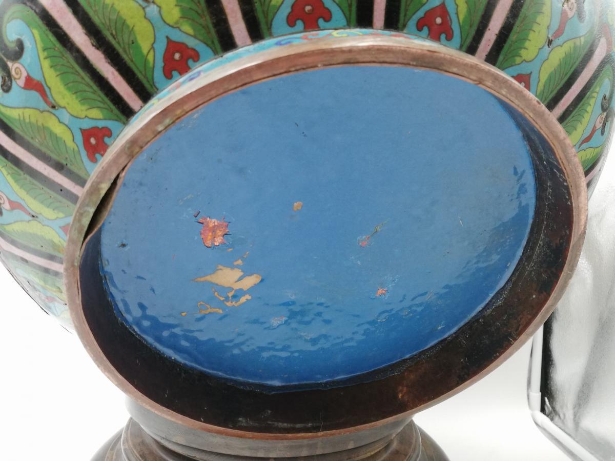 Large Enamel Cloisonne Cashe-pot, Planter XIX.-photo-7