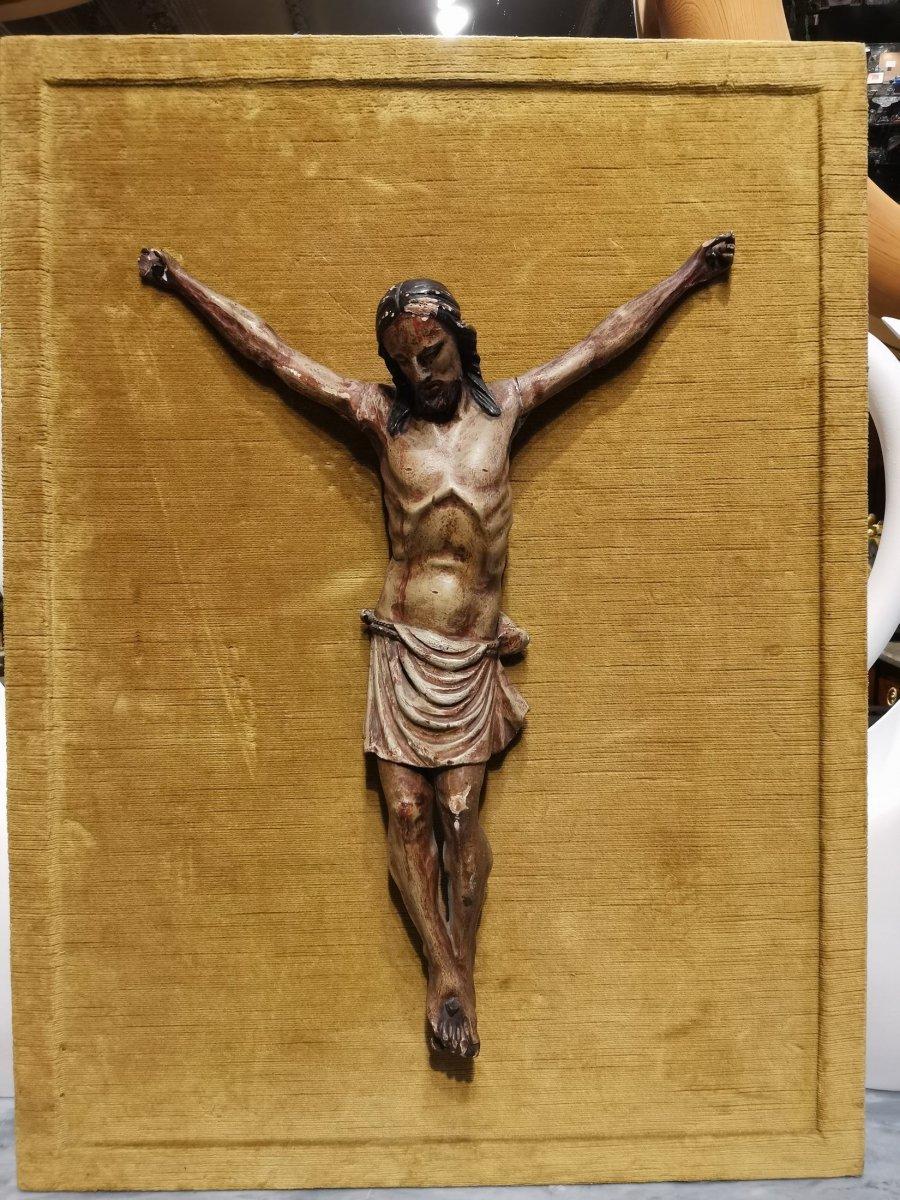 Christ En Bois Polychrome Du 18ème Siècle