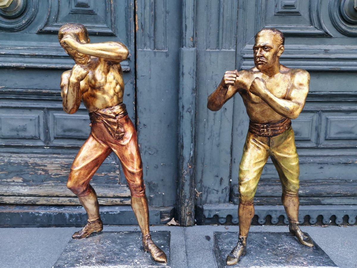 Arthur Waagen C 1895, Sculpture Of American Boxers