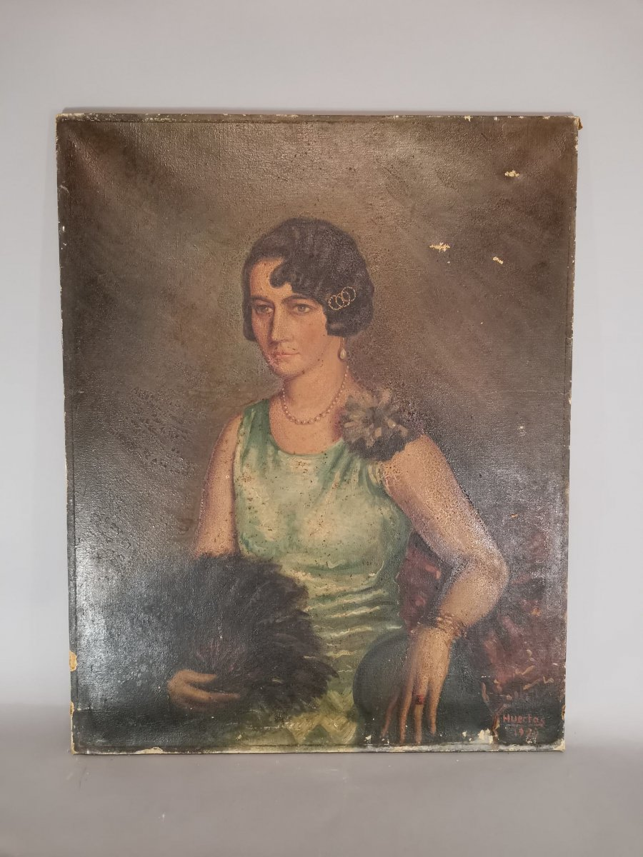 Oil On Canvas Portrait Of Lady-photo-3