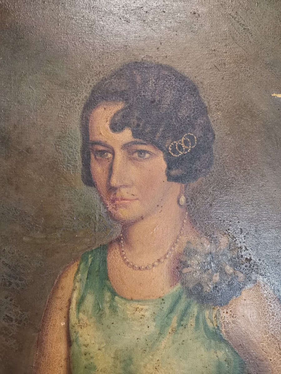 Oil On Canvas Portrait Of Lady-photo-4