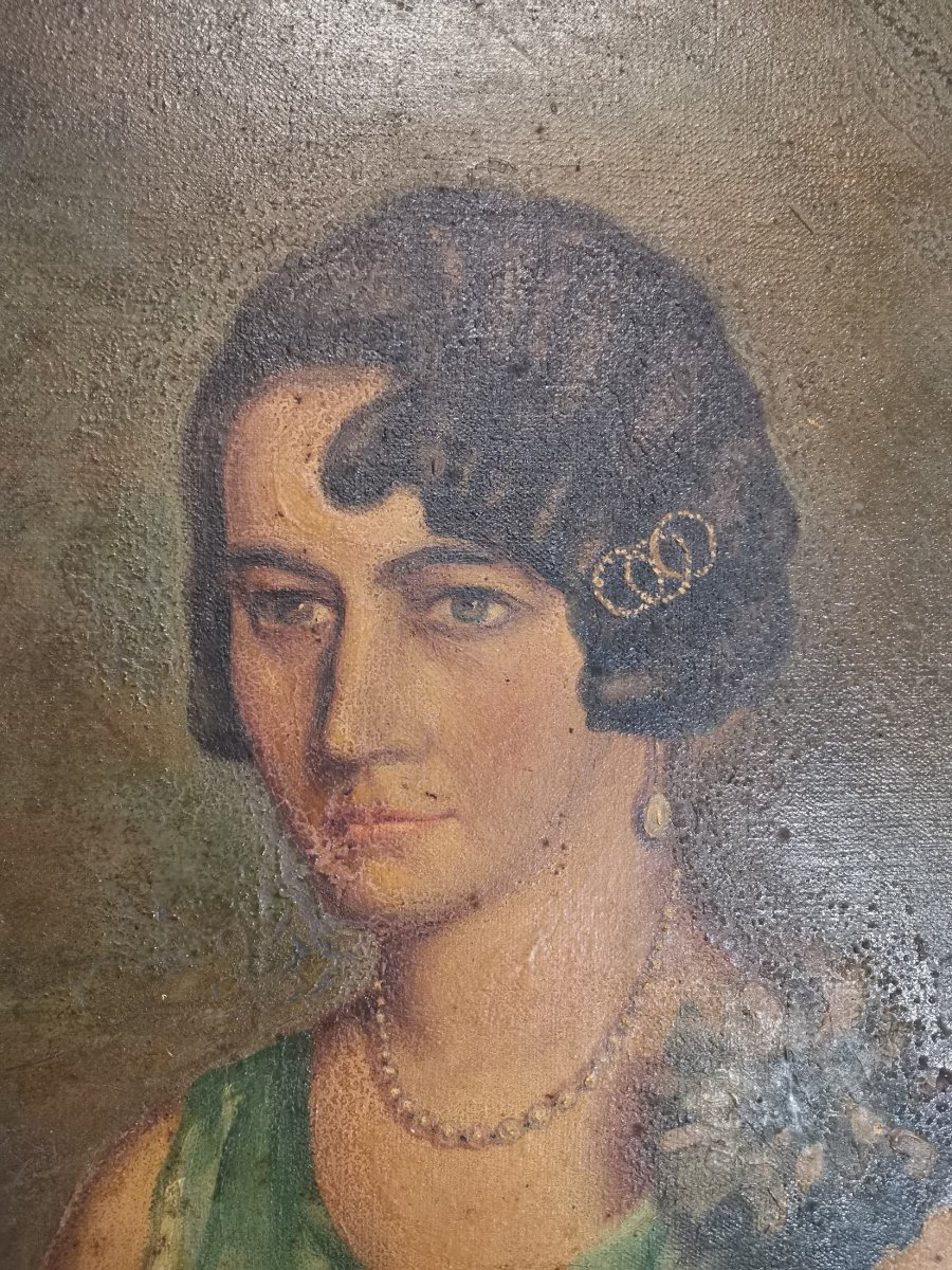 Oil On Canvas Portrait Of Lady-photo-1