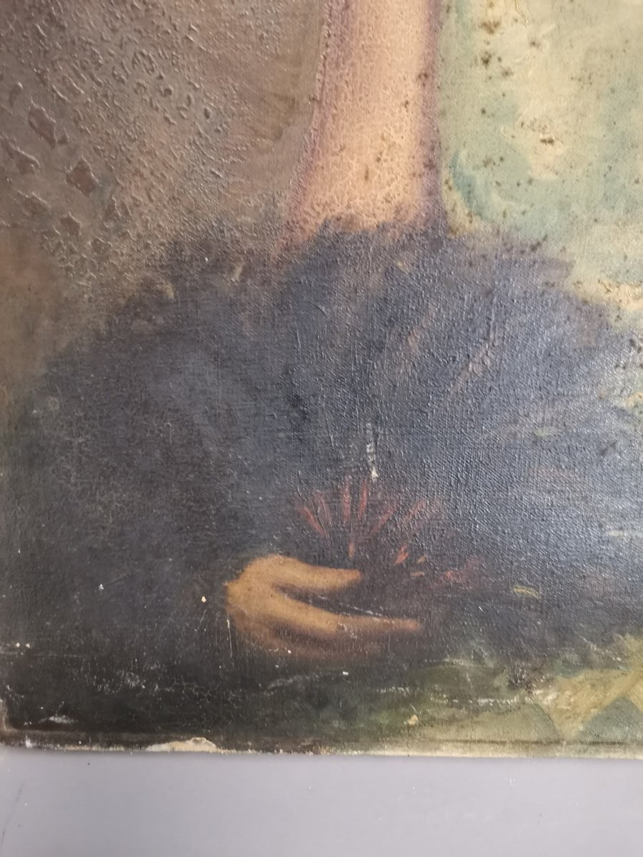 Oil On Canvas Portrait Of Lady-photo-2
