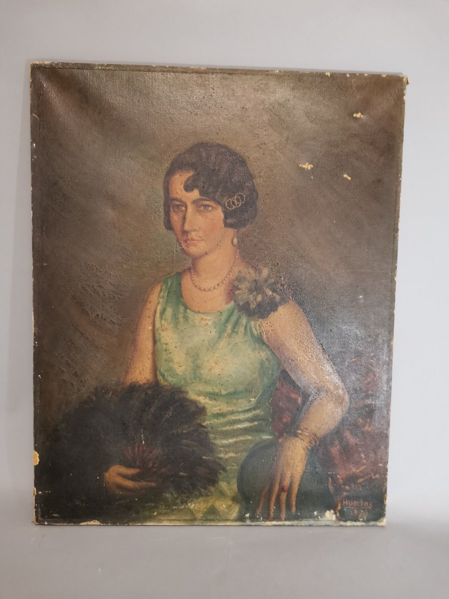 Oil On Canvas Portrait Of Lady-photo-5